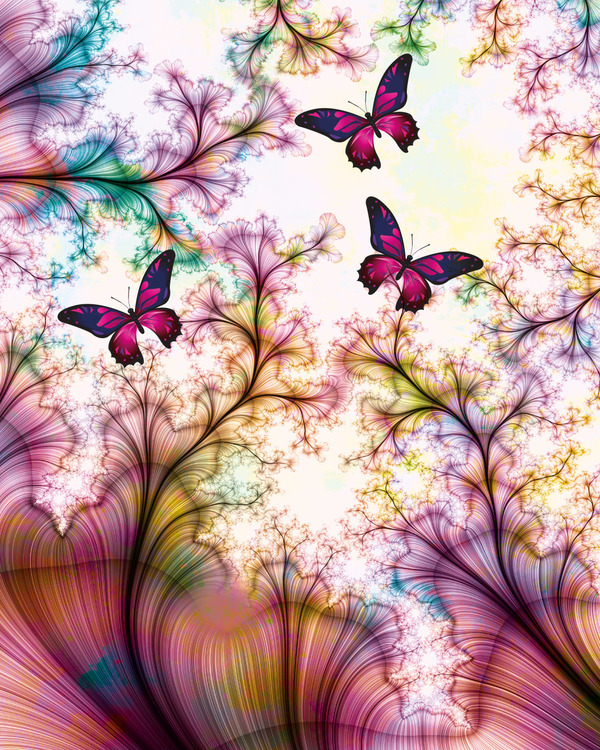 "Graphic Art ""Butterflies in abstract world"""