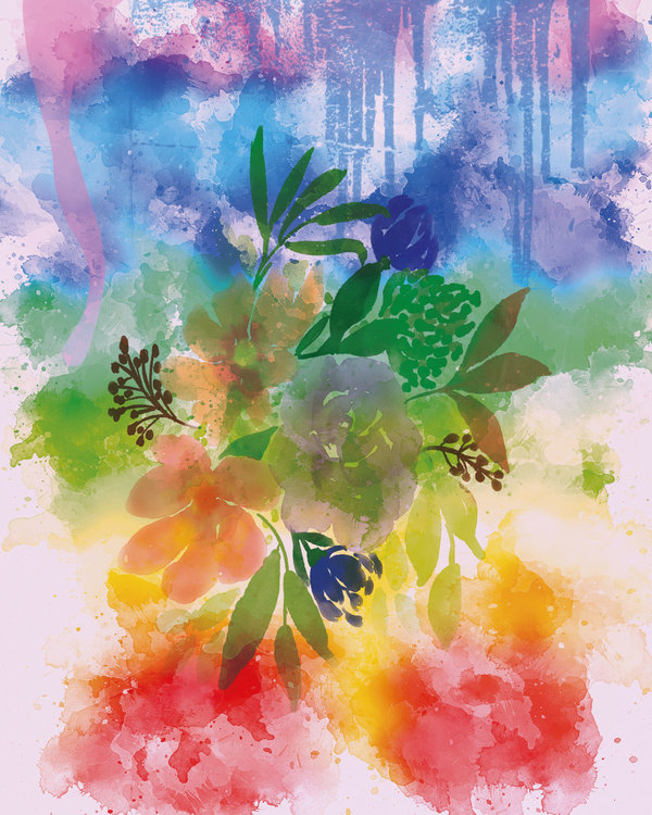 """Graphic Art """"Bouquet in summer colors"""""""