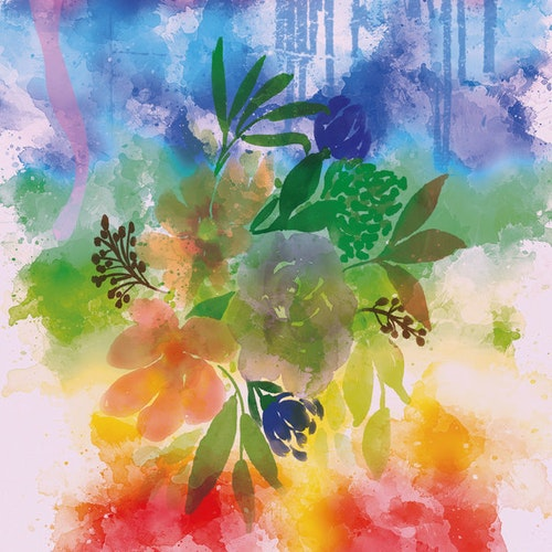 "Graphic Art ""Bouquet in summer colors"""