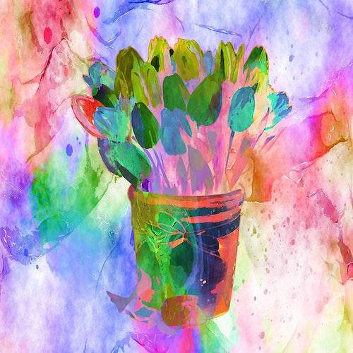 "Graphic Art ""Happy tulips in happy colors"""