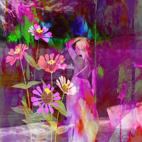 """Graphic Art """"Woman in abstract world of color"""""""