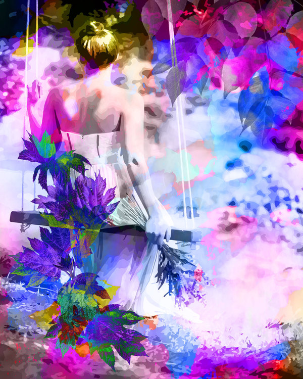 """Graphic Art """"Woman in the sea of colors"""""""
