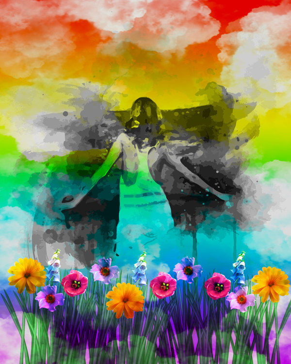 """Graphic Art """"Girl in summer shimmer"""""""