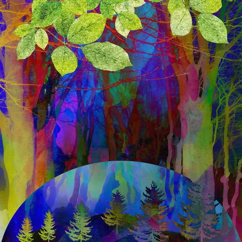 """Graphic Art """"Abstract colorful forest"""""""