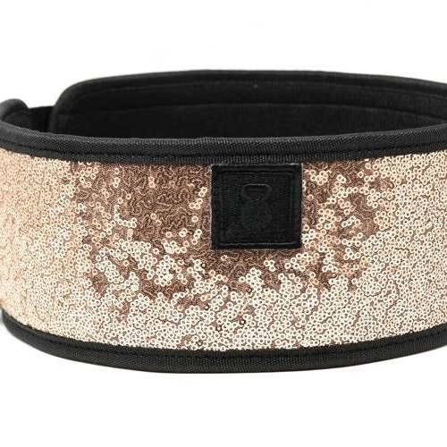 Classy Bling Rose Gold Straight Weightlifting Belt