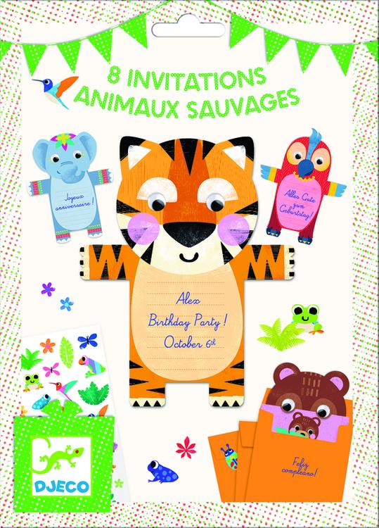 Djeco - Inbjudningskort - Wild Animals