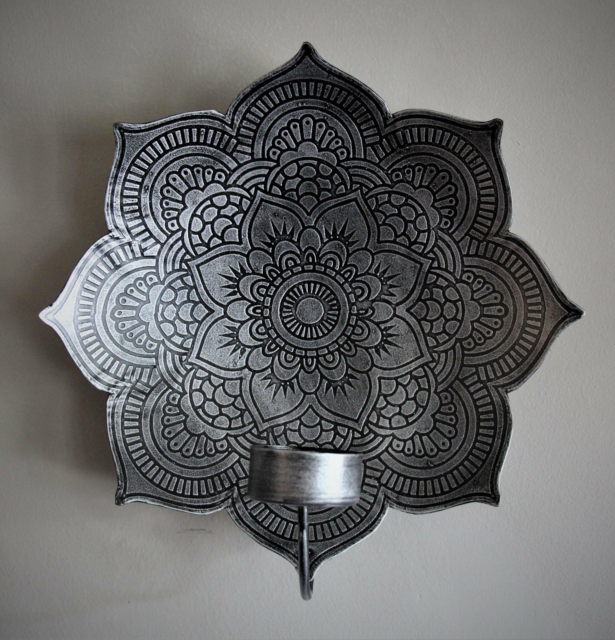 Mandala väggljusstake silver