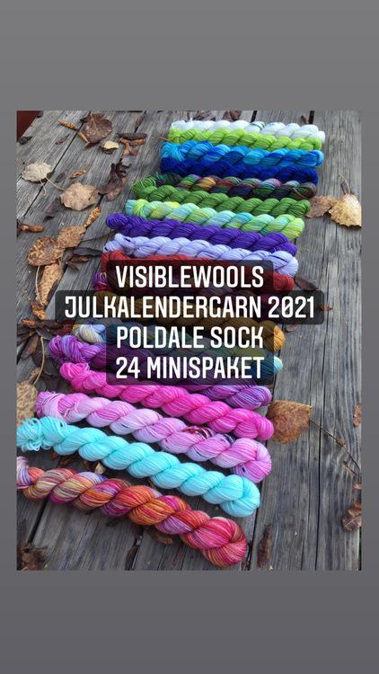 Garnkalender 2021 - Poldale Sock 24 st 20g i små paket