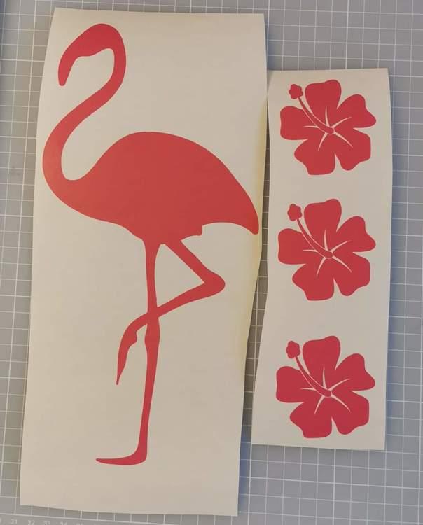 """Vinyldekor """" Flamingo & Hibiskusar"""""""