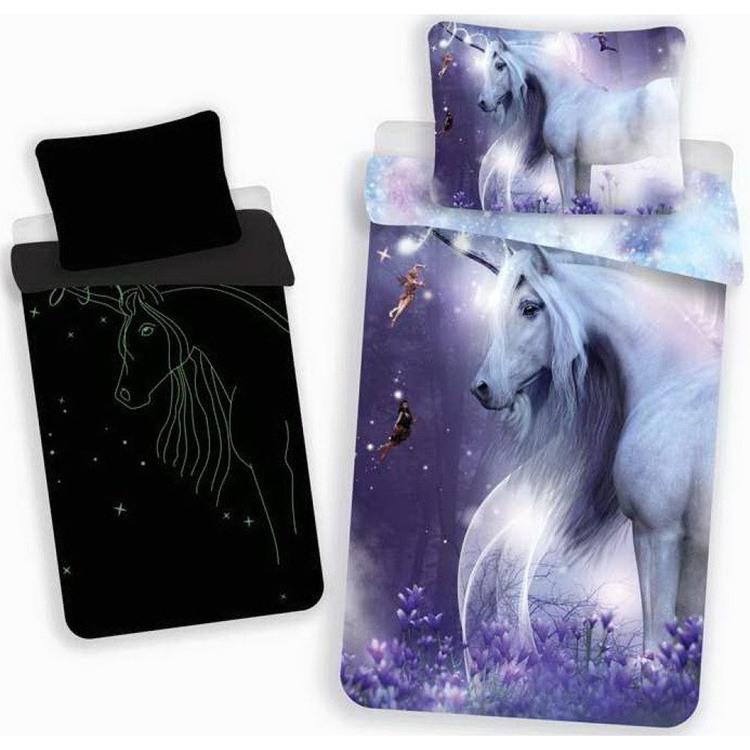 Unicorn påslakan + örngott (LYSER I MÖRKER)