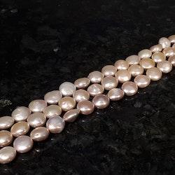 Rosa platta mynt pärlor 13-14 mm