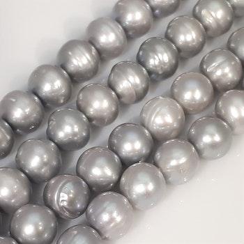 Silvergrå runda 10-11 mm