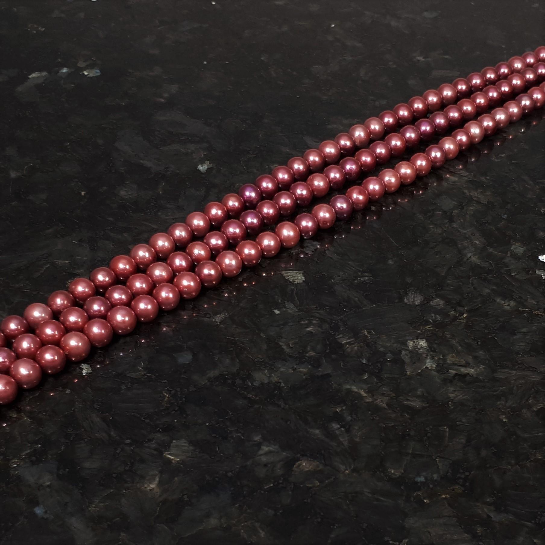 Rosa röda runda pärlor 8-8,5 mm