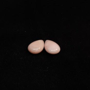 Rosa opal, stor, platt droppe 12x18 mm