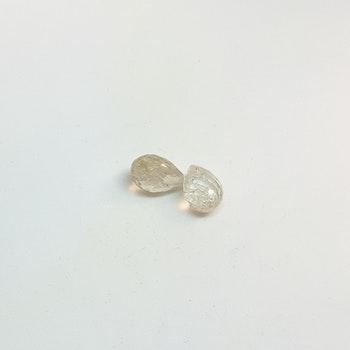 Rutil kvarts, briolettslipad 8x10 mm