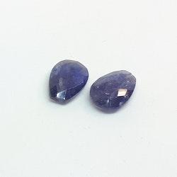 Iolit fasettslipad platt droppe 12x15 mm