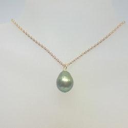 Halsband med förgylld silverkedja och stor grön pärla