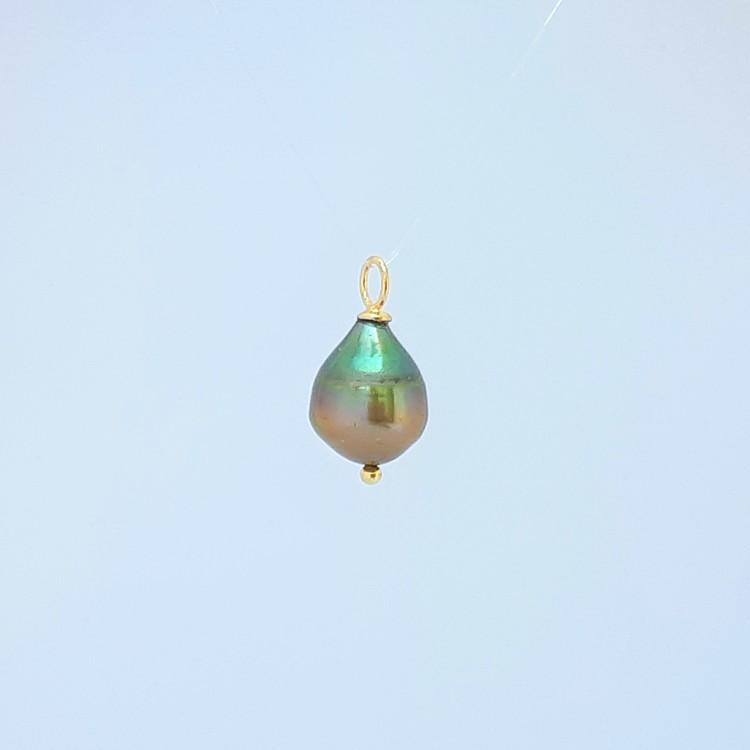 Pärldroppe 11 mm grön-brun