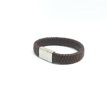 Flätat brunt läderarmband