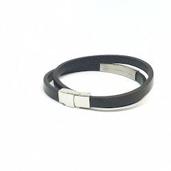 Slät dubbelt svart läderarmband