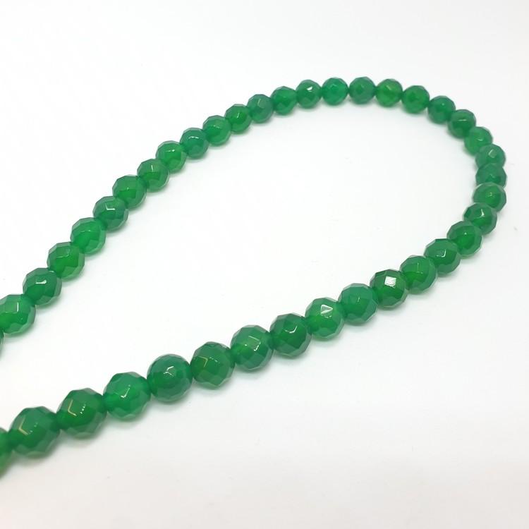 Grön agat fasettslipad 8 mm