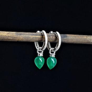 Grön onyx med bling på silver creol