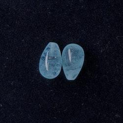 Akvamarin slätpolerad rund droppe