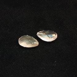 Rosenkvarts platt fasettslipad 10x15 mm