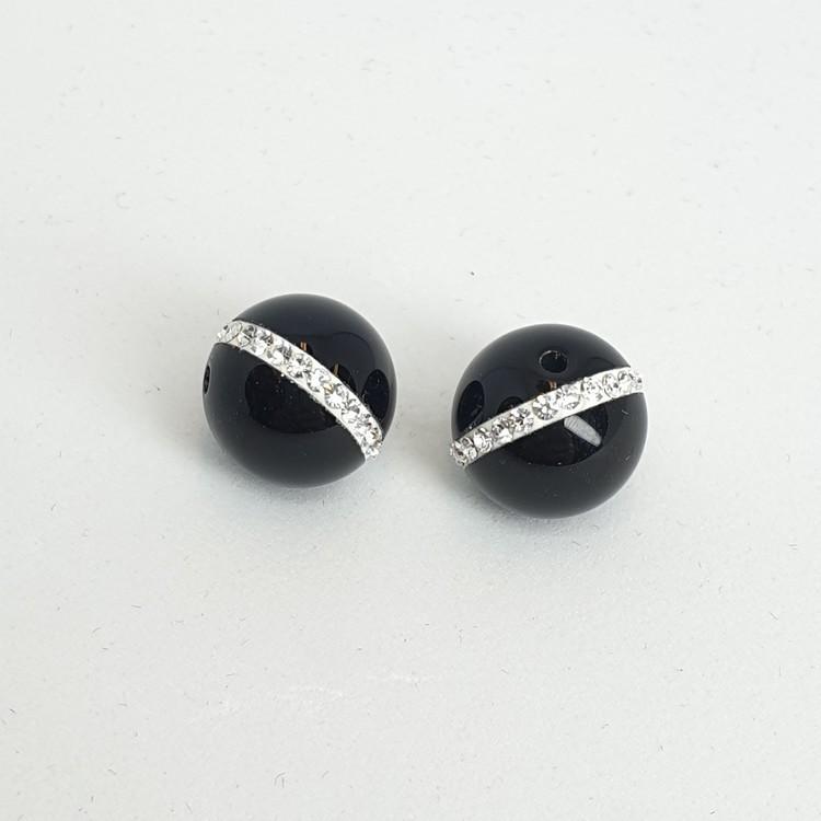Onyx, blank, kula 8 mm med bling