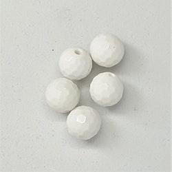 Agat vit, golfbolls-fasettslipad!, 8 mm, pris / st!