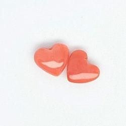 Korall, hjärta 10 mm pris/par