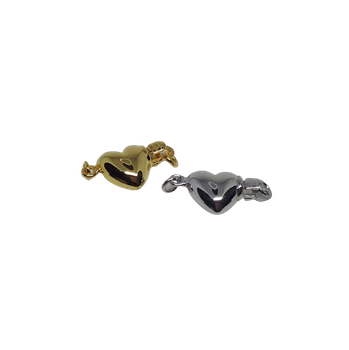 Hjärta lås i silver/förgylld 8 mm