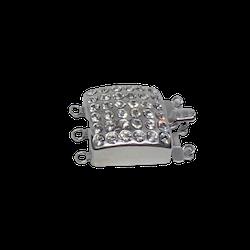 Fyrkantigt silverlås med mycket bling 25x18 mm