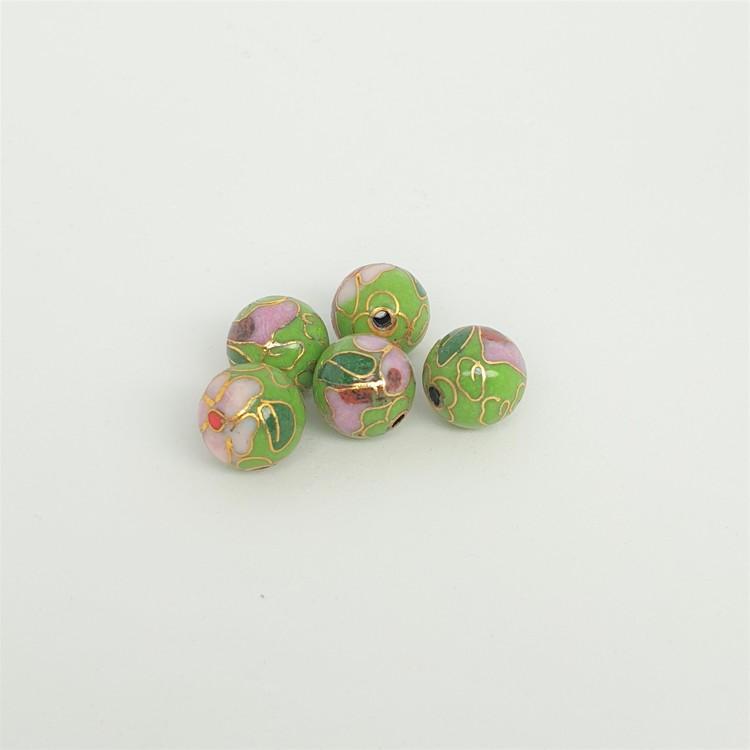 Cloisonne pärla, liten grön, metall med emalj