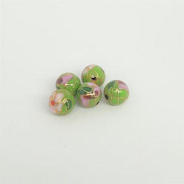 Cloisonne pärla, grön, metall med emaljarbete pris/st