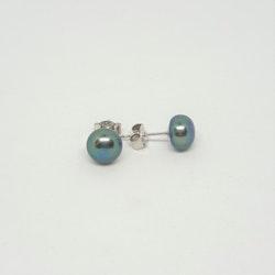 Blå pärlor på silverstift 9 mm