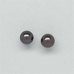 Brun-lila, runda pärlor halvborrade 8 mm
