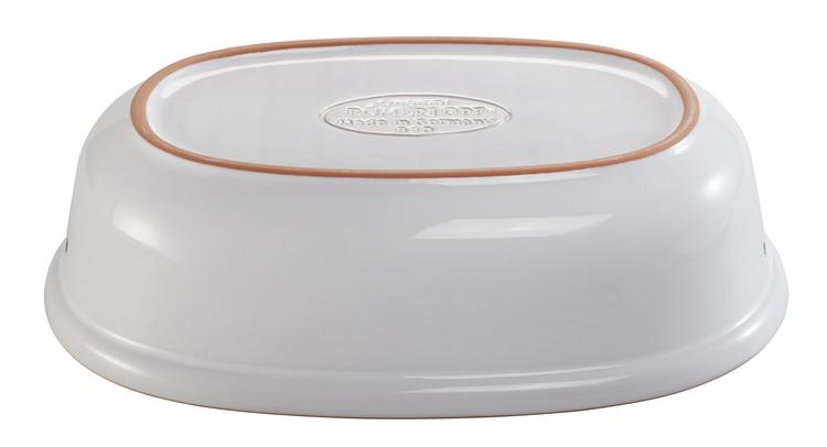Römertopf Brödburk Brödskrin i keramik lera Maxi Oval 40 cm Vit