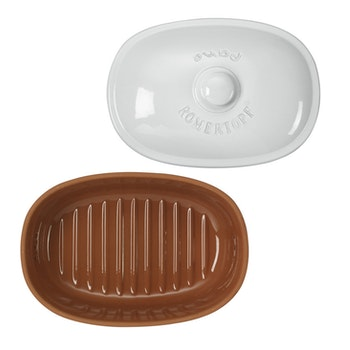 Römertopf Brödburk Brödskrin i keramik lera Medi Oval 30 cm Vit