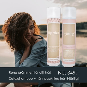 Kampanj - Djuprengörande och återfuktande kit från Hjärtligt - Detoxschampo och Hårinpackning