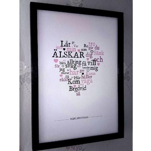 """Kopia Alla hjärtans dag-tavla, låttext """"Kärleksvisan"""""""