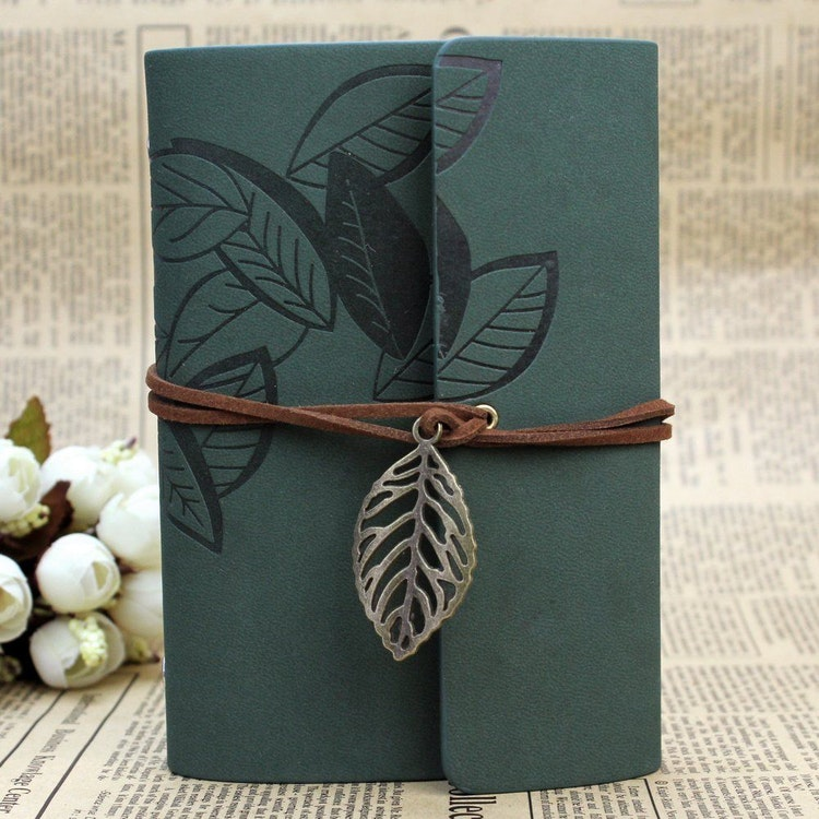 Grön Skrivbok, vintage