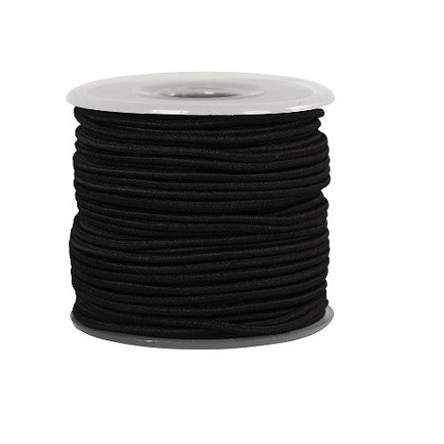 Svart elastisk tråd, 2 mm