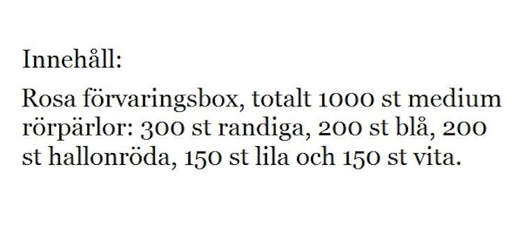 Pärlset 1000 st pärlor. Rosa box.