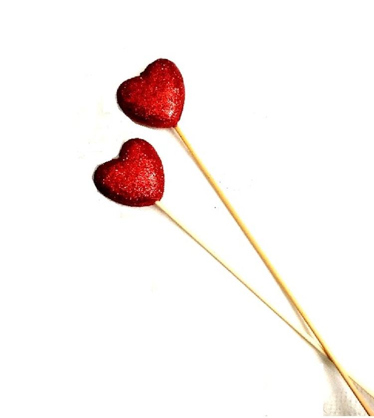 Glitterhjärta på pinne - 2-pack