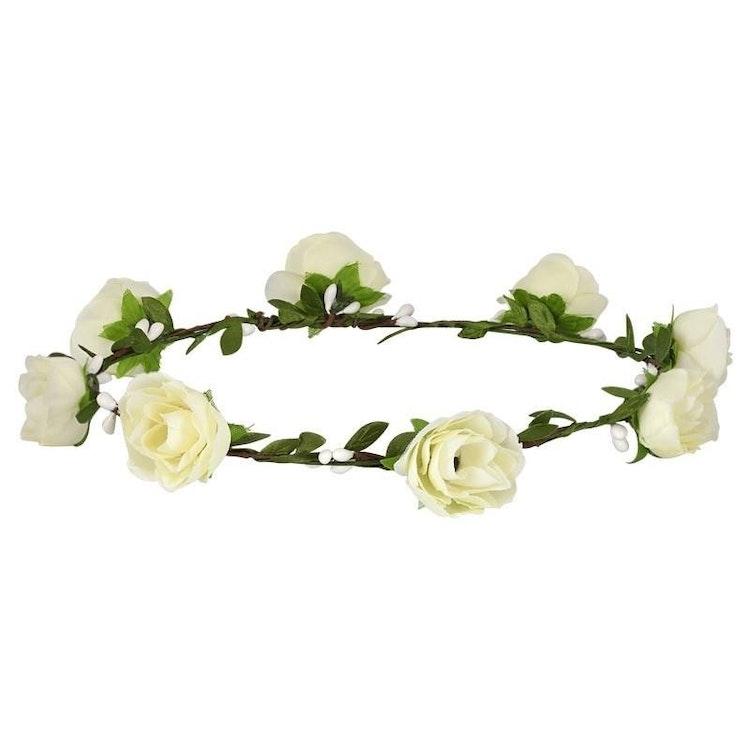Vit blomsterkrans med rosor.