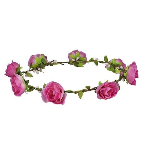 Rosa blomsterkrans med rosor.