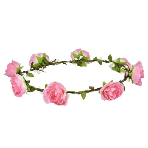 Ljusrosa blomsterkrans med rosor.