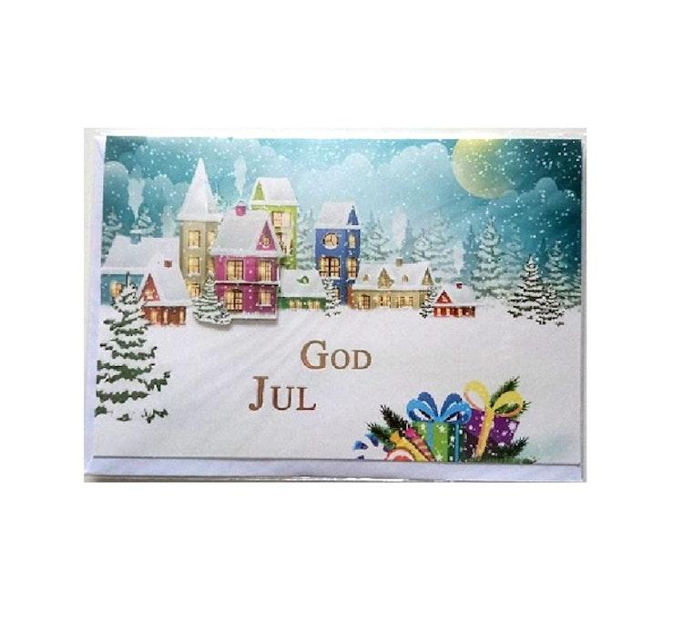 "Julkort med kuvert ""Liten by"""