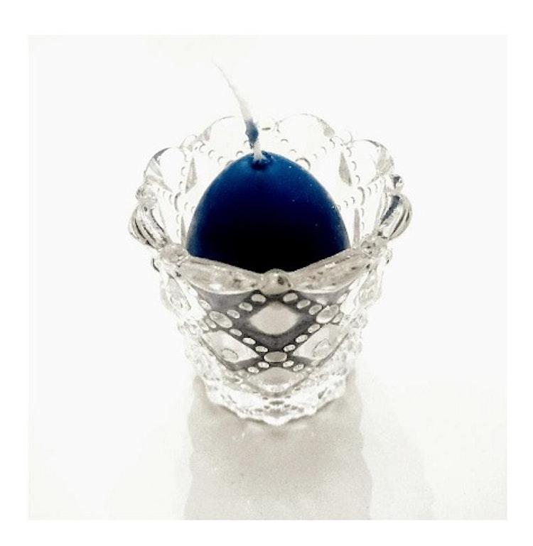 Glaslykta, blått äggljus